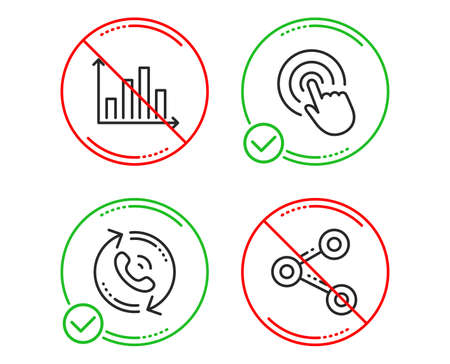 Do or Stop. Diagram graph, Call center and Click icons simple set. Share sign. Presentation chart, Recall, Cursor pointer. Follow network. Line diagram graph do icon. Prohibited ban stop. Good or bad
