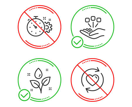 Do or Stop. Cogwheel timer, Plants watering and Consolidation icons simple set. Update relationships sign. Engineering tool, Water drop, Strategy. Refresh love. Line cogwheel timer do icon. Vector Illustration