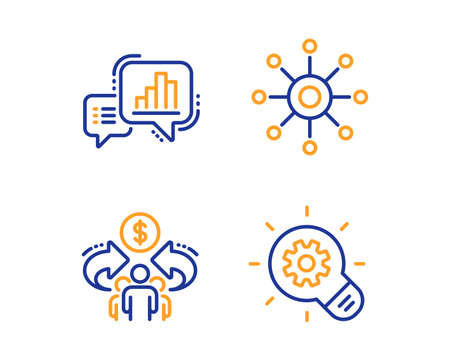 Graph chart, Multichannel and Sharing economy icons simple set. Cogwheel sign. Growth report, Multitasking, Share. Idea bulb. Science set. Linear graph chart icon. Colorful design set. Vector Illustration