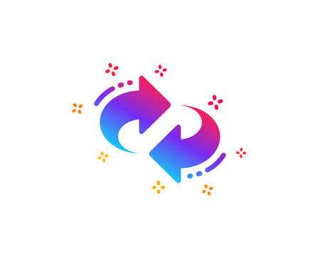 Refresh, change arrow icon. Rotation Arrowhead symbol. Navigation pointer sign. Dynamic shapes. Gradient design refresh icon. Classic style. Vector Ilustração