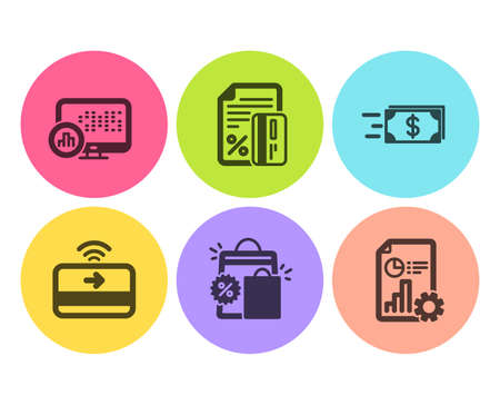 Contactless payment, Report statistics and Money transfer icons simple set. Shopping bags, Credit card and Report signs. Financial payment, Graph chart. Finance set. Flat contactless payment icon
