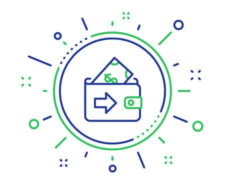 Wallet line icon. Money payment sign. Dollar finance symbol. Quality design elements. Technology wallet button. Editable stroke. Vector Ilustração