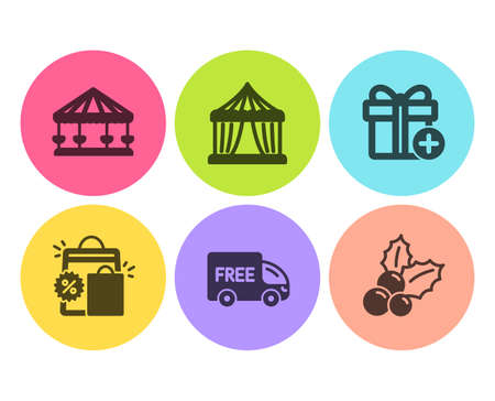Shopping bags, Add gift and Free delivery icons simple set. Circus tent, Carousels and Christmas holly signs. Sale discount, Present box. Holidays set. Flat shopping bags icon. Circle button. Vector Illustration