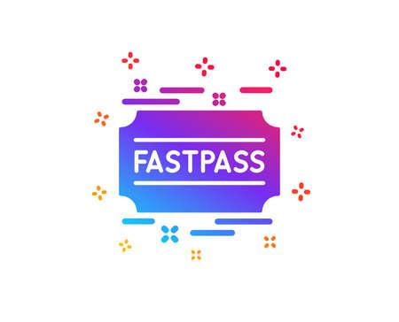 Fastpass icon. Amusement park ticket sign. Fast track symbol. Dynamic shapes. Gradient design fastpass icon. Classic style. Vector Ilustração