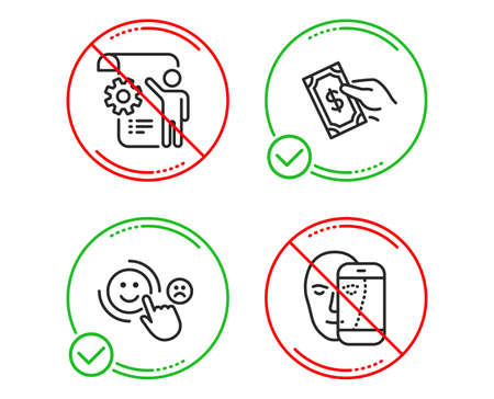Do or Stop. Pay money, Settings blueprint and Customer satisfaction icons simple set. Face biometrics sign. Hold cash, Engineering cogwheel, Happy smile. Facial recognition. People set. Vector