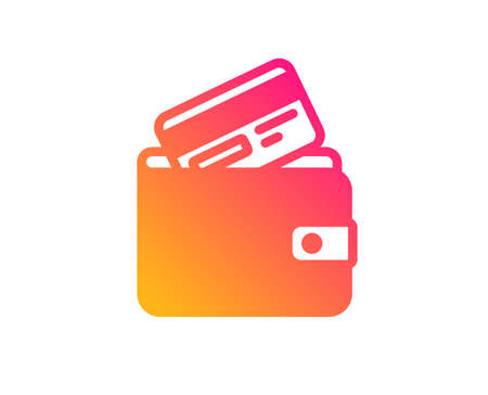 Wallet with Credit card icon. Cash money sign. Payment method symbol. Classic flat style. Gradient debit card icon. Vector 向量圖像