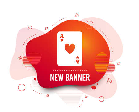 Fluid badge. Casino sign icon. Playing card symbol. Ace of hearts. Abstract shape. Gradient playing card icon. Flyer liquid banner. Vector Stok Fotoğraf - 123946253