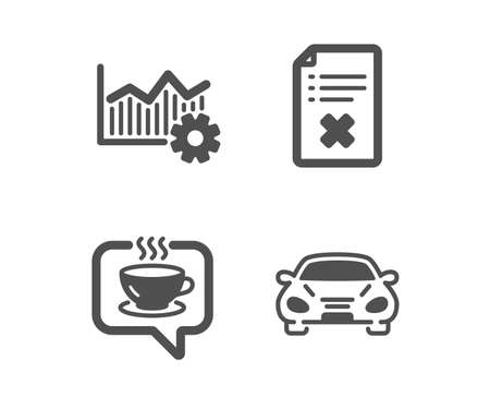 Set of Reject file, Coffee and Operational excellence icons. Car sign. Decline agreement, Cafe, Corporate business. Transport.  Classic design reject file icon. Flat design. Vector