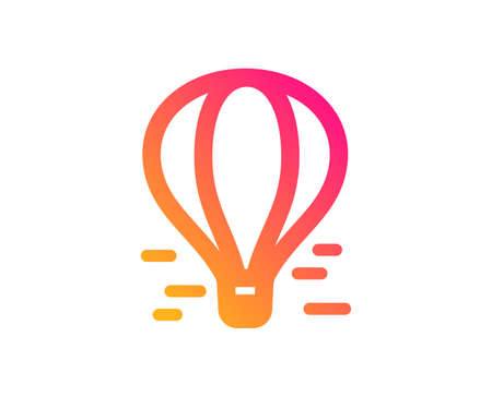 Air balloon icon. Flight transport with basket sign. Amusement park symbol. Classic flat style. Gradient air balloon icon. Vector Stock Vector - 123946263
