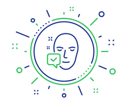 Face accepted line icon. Access granted sign. Facial identification success symbol. Quality design elements. Technology face accepted button. Editable stroke. Vector Ilustracja