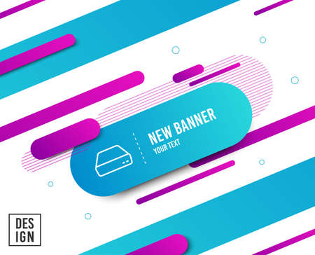 Mini pc line icon. Small computer device sign. Diagonal abstract banner. Linear mini pc icon. Geometric line shapes. Vector Illustration