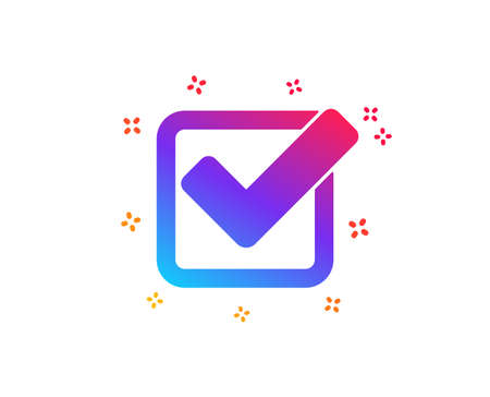 Check icon. Approved Tick sign. Confirm, Done or Accept symbol. Dynamic shapes. Gradient design checkbox icon. Classic style. Vector
