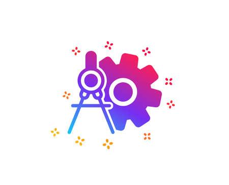 Cogwheel dividers icon. Engineering tool sign. Cog gear symbol. Dynamic shapes. Gradient design cogwheel dividers icon. Classic style. Vector