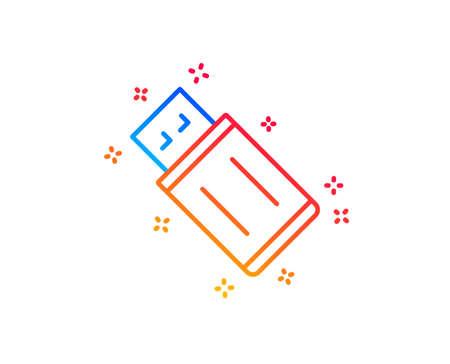 USB flash drive line icon. Memory stick sign. Portable data storage symbol. Gradient design elements. Linear uSB flash icon. Random shapes. Vector Illustration