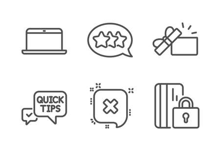 Quick tips, Stars and Reject icons simple set. Opened gift, Laptop and Blocked card signs. Helpful tricks, Customer feedback. Line quick tips icon. Editable stroke. Vector