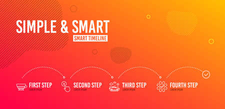 Infographic timeline. Mocha, Car travel and Reject click icons simple set. Service sign. Coffee cup, Transport, Delete button. Cogwheel gear. 4 steps layout. Line mocha icon. Vector Vettoriali
