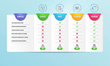 Face accepted, Quick tips and Messenger mail icons simple set. Comparison table. User communication sign. Access granted, Helpful tricks, New e-mail. Human resources. People set. Pricing plan. Vector Banque d'images - 120268269