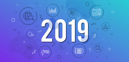 Infographic concept. Internet search, Calendar graph and Line graph icons simple set. Cogwheel dividers, Signature and Computer mouse signs. Gpu, Search and Quickstart guide symbols. 2019 year