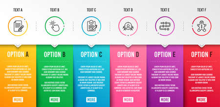 Survey progress, Touchpoint and Article icons simple set. Business targeting, Rfp and Gingerbread man signs. Algorithm, Touch technology. Business set. Infographic template. 6 steps timeline. Vector Stock Vector - 120268273