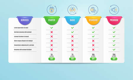Approved, Messenger mail and Recruitment icons simple set. Comparison table. Loud sound sign. Winner badge, New e-mail, Manager change. Music. Education set. Pricing plan. Compare products. Vector