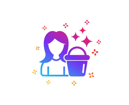 Cleaning service icon. Woman with Bucket symbol. Washing Housekeeping equipment sign. Dynamic shapes. Gradient design cleaning icon. Classic style. Vector Standard-Bild - 123946303