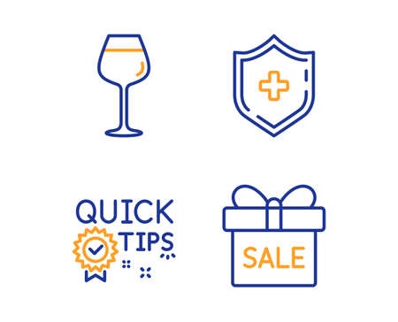Medical shield, Bordeaux glass and Quick tips icons simple set. Sale offer sign. Medicine protection, Wine glass, Helpful tricks. Gift box. Linear medical shield icon. Colorful design set. Vector