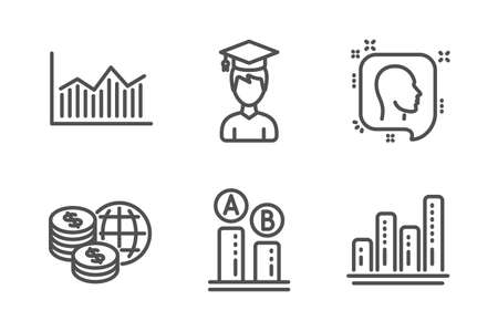 Student, World money and Ab testing icons simple set. Head, Money diagram and Graph chart signs. Graduation cap, Global markets. Science set. Line student icon. Editable stroke. Vector Illustration