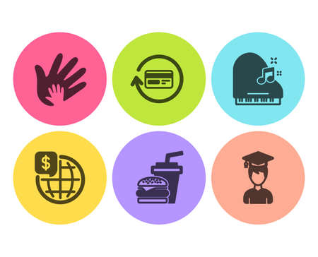 World money, Social responsibility and Piano icons simple set. Hamburger, Refund commission and Student signs. Global markets, Hand. Business set. Flat world money icon. Circle button. Vector