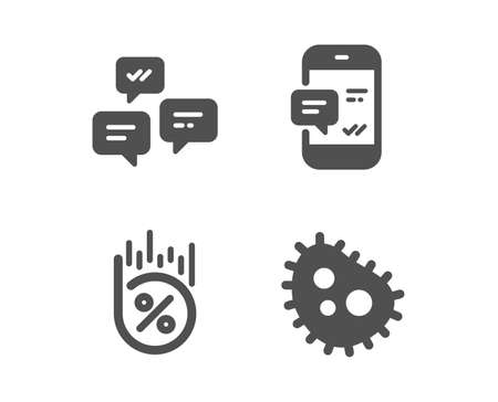 Set of Smartphone notification, Chat messages and Loan percent icons. Bacteria sign. Chat message, Communication, Discount. Antibacterial. Classic design smartphone notification icon. Flat design