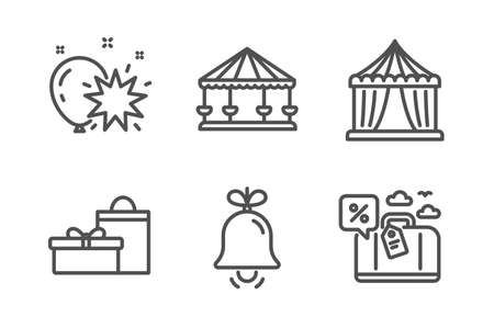 Circus tent, Balloon dart and Bell icons simple set. Carousels, Gifts and Travel loan signs. Attraction park, Alarm signal. Holidays set. Line circus tent icon. Editable stroke. Vector Иллюстрация