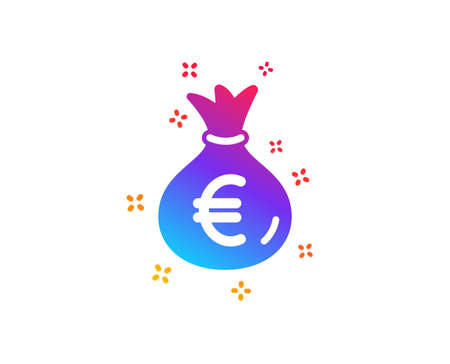 Money bag icon. Cash Banking currency sign. Euro or EUR symbol. Dynamic shapes. Gradient design money bag icon. Classic style. Vector