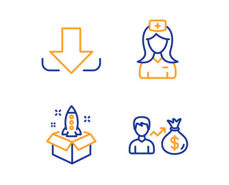 Download, Hospital nurse and Startup icons simple set. Sallary sign. Load file, Medical assistant, Innovation. Person earnings. Business set. Linear download icon. Colorful design set. Vector