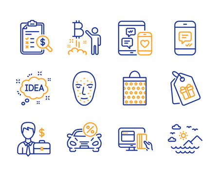 Coupons, Message and Bitcoin project icons simple set. Accounting report, Online payment and Social media signs. Car leasing, Idea and Shopping bag symbols. Line coupons icon. Colorful set. Vector