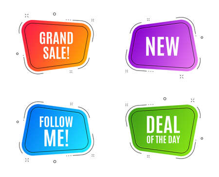 Geometric banners. New symbol. Special offer sign. New arrival. Follow me banner. Clearance sale. Vector