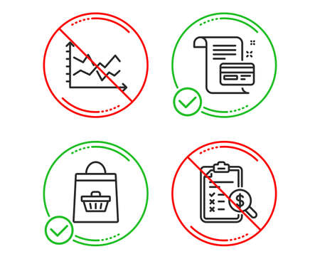 Do or Stop. Diagram chart, Online buying and Payment card icons simple set. Accounting report sign. Presentation graph, Shopping cart, Agreement conditions. Check finance. Finance set. Vector