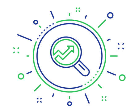 Chart line icon. Report graph or Sales growth sign in Magnifying glass. Analysis and Statistics data symbol. Quality design elements. Technology analytics button. Editable stroke. Vector Çizim