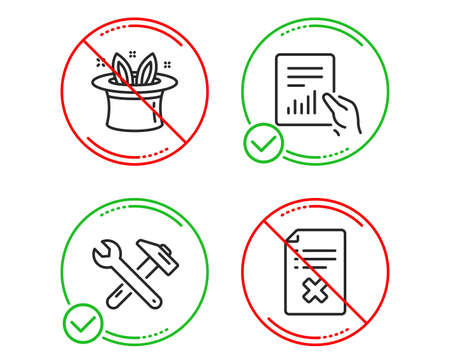 Do or Stop. Document, Hat-trick and Spanner tool icons simple set. Reject file sign. File with diagram, Magic hat, Repair. Decline agreement. Business set. Line document do icon. Prohibited ban stop
