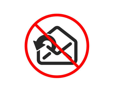 No or Stop. Send Mail download icon. Sent Messages correspondence sign. E-mail symbol. Prohibited ban stop symbol. No send Mail icon. Vector