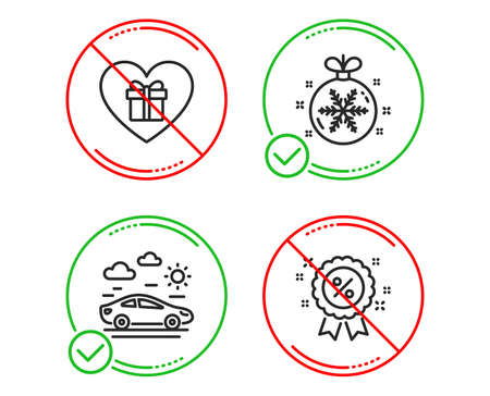 Do or Stop. Romantic gift, Christmas ball and Car travel icons simple set. Discount sign. Surprise with love, Snowflake, Transport. Sale shopping. Holidays set. Line romantic gift do icon. Vector