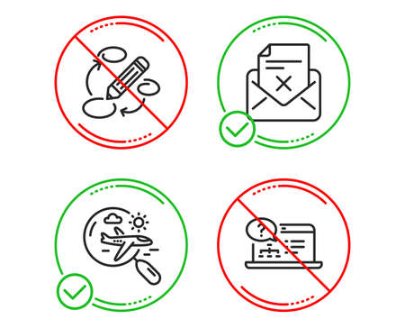 Do or Stop. Keywords, Search flight and Reject letter icons simple set. Online help sign. Marketing strategy, Airplane trip, Delete mail. Web support. Line keywords do icon. Prohibited ban stop Illustration