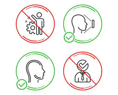 Do or Stop. Employee, Face id and Head icons simple set. Vacancy sign. Cogwheel, Identification system, Human profile. Businessman concept. People set. Line employee do icon. Prohibited ban stop Ilustrace