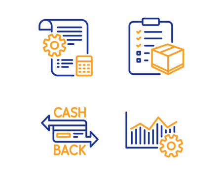 Cashback card, Settings blueprint and Parcel checklist icons simple set. Operational excellence sign. Money payment, Report document, Logistics check. Corporate business. Linear cashback card icon