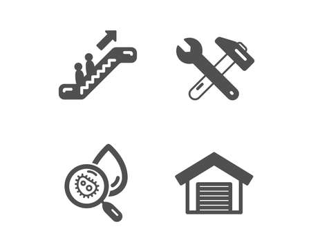 Set of Water analysis, Escalator and Spanner tool icons. Parking garage sign. Aqua bacteria, Elevator, Repair. Car place.  Classic design water analysis icon. Flat design. Vector