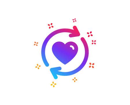 Mettre à jour l'icône des relations. Symbole de rencontre d'amour. Signe de la Saint-Valentin. Formes dynamiques. Icône de relations de mise à jour de conception de dégradé. Style classique. Vecteur