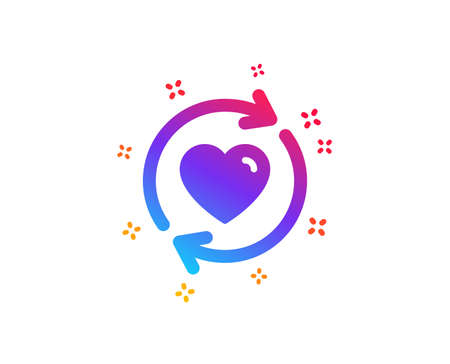 Update relationships icon. Love dating symbol. Valentines day sign. Dynamic shapes. Gradient design update relationships icon. Classic style. Vector Vectores
