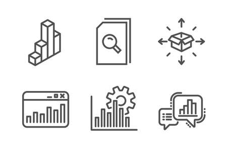Search files, Marketing statistics and Seo graph icons simple set. Parcel delivery, 3d chart and Graph chart signs. Magnifying glass, Web analytics. Business set. Line search files icon. Vector