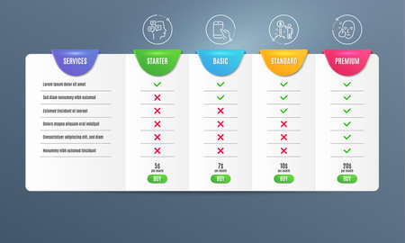 Hold smartphone, Messages and Income money icons simple set. Comparison table. Healthy face sign. Phone call, Notifications, Wealth. Healthy cosmetics. People set. Pricing plan. Vector