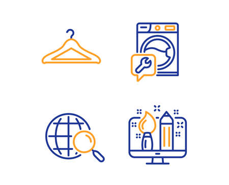 Web search, Washing machine and Cloakroom icons simple set. Creative design sign. Find internet, Repair service, Hanger wardrobe. Designer. Business set. Linear web search icon. Colorful design set