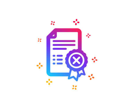 Reject certificate icon. Decline document sign. Wrong file. Dynamic shapes. Gradient design reject certificate icon. Classic style. Vector Foto de archivo - 120440321