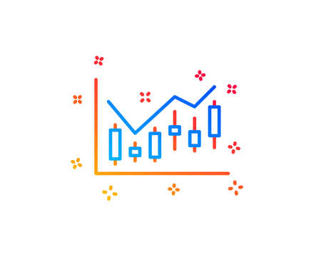 Candlestick chart line icon. Financial graph sign. Stock exchange symbol. Business investment. Gradient design elements. Linear financial diagram icon. Random shapes. Vector Zdjęcie Seryjne - 123946406
